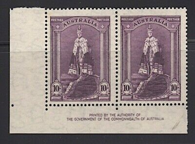 Australia 1938 10/- Robes Imprint Pair (Thinner Paper) Unmounted Mint Cat 100