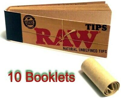10Raw Smoking Tip Booklets Natural Chlorine Free Rolling Roach Filter 500 Tips😱