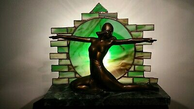 Art Deco Lamp Ronson Figural Bronze Spelter Egyptian Revival Nude Lady Woman