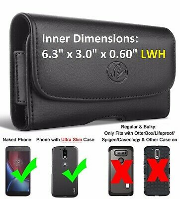 Horizontal Leather Carrying Case With Belt Clip & Belt Loop Holster Phone Holder