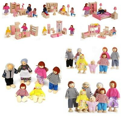 Kids Pink Wooden Furniture Dolls House Miniature Room Set Doll Toy Children Gift