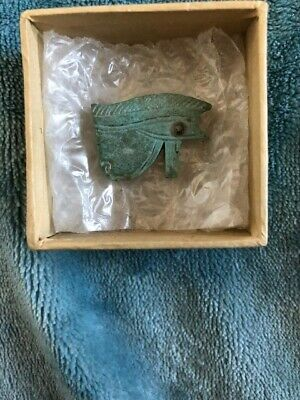 Authentic Egyptian late period 664-332BC blue faience Udjat eye amulet