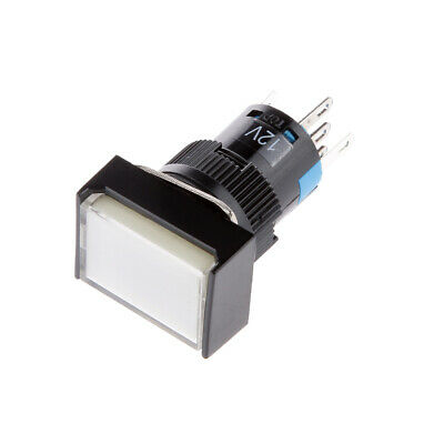 DC 12V Pushbutton Momentary Self Locking Square Switch with LED Light White