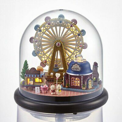 Xmas Gift DIY Small Music Doll House Miniature Kits Box With Dust Cover Kids