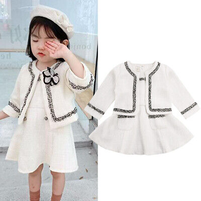 Toddler Baby Girls Winter Clothes Princess Coat Tops+Tutu Dress Formal Outfits