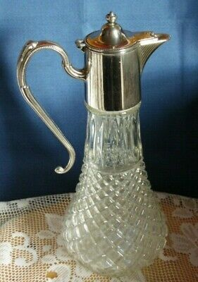 Vintage Glass Silver Plated Wine Claret Jug