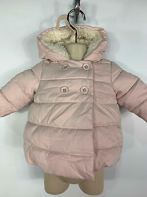 Girls Next Light Pink Button Padded Rain Coat Hooded Jacket Kids Age 3/6 Months