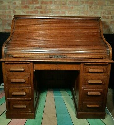 Antique Victorian 19th Century Solid Oak Roll Top Twin Pedestal Writing Desk