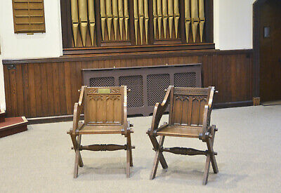 Victorian Glastonbury chair antique carved oak Glastonbury chairs x2 Exmouth