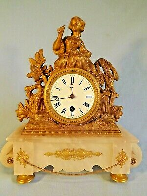 19c French Gilt Metal & Alabaster Figural Clock Working Order.