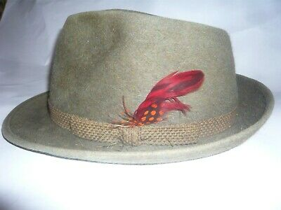 Vintage Grey Dunn & Co Trilby Hat with Feather - Size 7 1/8
