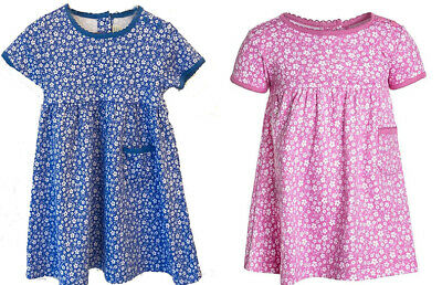 Ex Chainstore Baby Girls Navy Blue Pink Floral Ditsy Cotton Dresses 3-18 months
