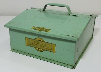 Vintage Eve-Ware England Green Metal Shoe Cleaning Box for Black & Brown Polish
