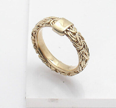 Size 7.5 Technibond Framed Byzantine Band Ring 14K Yellow Gold Clad 925 Silver