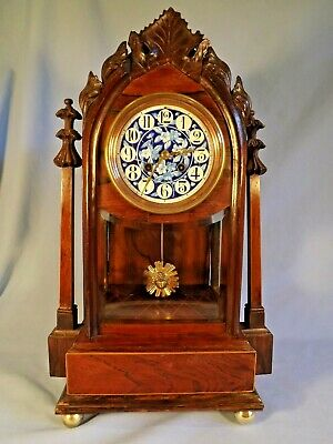 Fabulous 19c French Rosewood Clock With Blue Dial.