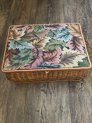 Wooden Wicker Style Tapestry Lidded Sewing Box Tray Storage