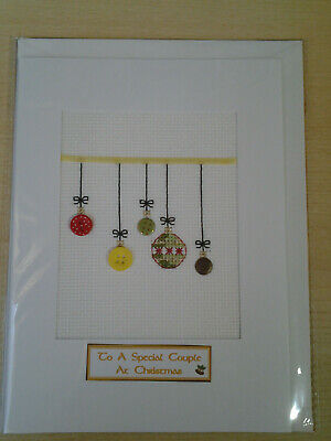 LGE COMPLETED CHRISTMAS CROSS STITCH CARD Special Couple.  no.X005