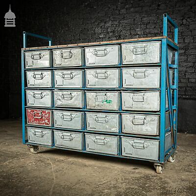 Blue Steel Industrial Workshop Trolley with Bank of 20 Metal Tote Pan Drawers an