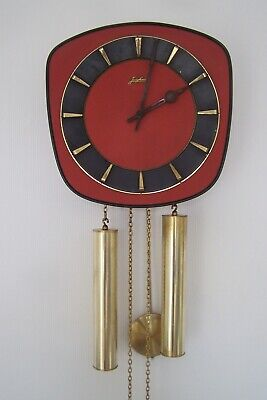 Vintage Mid 20th Century Junghans Red and Brass Wall Clock (External Weights)