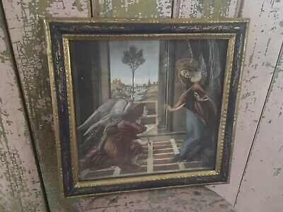 Beautiful Religious Print Florentine Frame Hollywood Regency Mid Century #Q