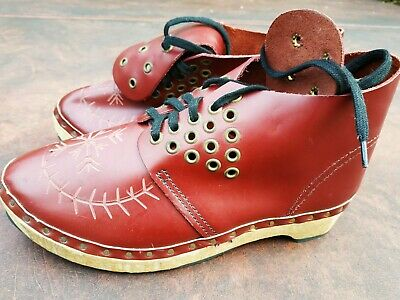 Traditional Leather Clogs, Wooden Sole, Eyelet Detail. Clog Dancing Stepping....
