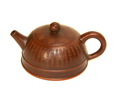 Vintage Chinese Yixing Zisha Purple Clay Hand Engraved Ceramic Teapot