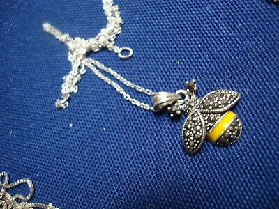 Grandmas Estate 925 Sterling Silver Bumble Bee Marcasite Necklace