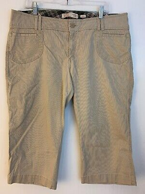 Old Navy Womens Cropped Corduroy Pants Size 16 Beige Midrise Stretch Capri
