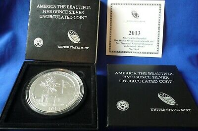 2013P Fort McHenry 5 oz .999 Burnished Silver ATB Coin Round  (w/Box & COA)