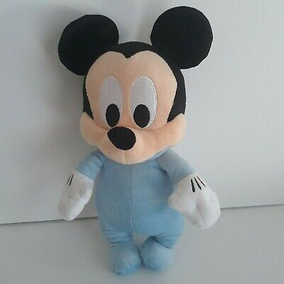 "Disney Parks Disney Babies 12"" Mickey Mouse Plush Soft Doll Toy Blue Pajamas"