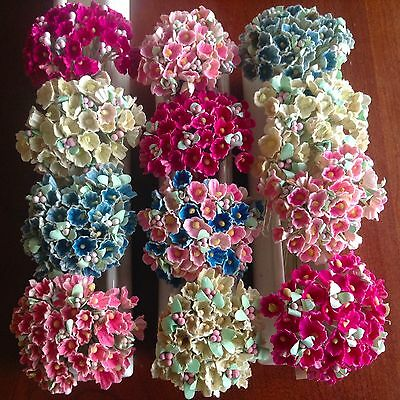 Vintage Millinery Flower Forget Me Not 12 bunch All for Hat + Hair Crown Kawaii