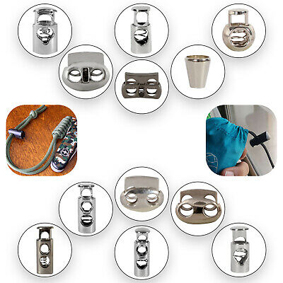 Cord Lock Toggles Stoppers Metal Spring Drawstring Laces Straps Single Twin Hole
