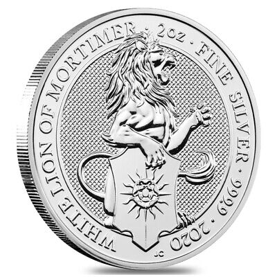2oz 2020 White Lion of Mortimer Queens Beast 999.9 Fine Silver Coin - in capsule