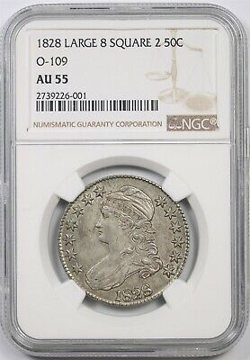 1828 Large 8 Square 2 50C NGC AU 55 (O-109) Capped Bust Half Dollar