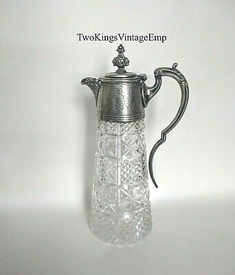 Tall Edwardian Beautiful Claret Jug Silver Colour Rampant Lion Lid - 11 inch