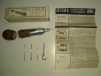Vintage Myers Famous Lock Stitch Sewing Awl + Box, Instructions, Accessories