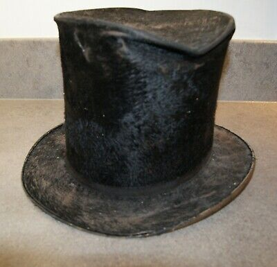 "ANTIQUE American Tall Top Hat STEAMPUNK/Performance Large Size 23"" Well Worn"