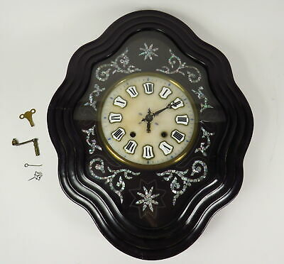 """Antique 1850 French Vineyard Country Wall Clock Mother Of Pearl Inlay 25"""" H 9"""" D"""