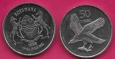 Botswana 50 Thebe 1998 Unc African Fish Eagle Left,Value Above,National Arms Dat