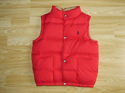 Boys Girls RALPH LAUREN Beige/Red Reversible Down/Feather Vest Sz 7 /6 years VGC
