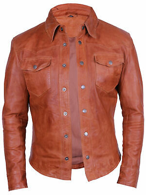 Men's Shirt Jacket Retro Brown Real Soft Genuine Waxed Leather Shirt by Crafters