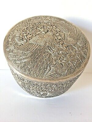 Antique  Chinese Export Very Large  Solid Round Silver Box /Container Hallmark
