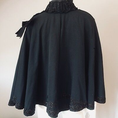 ANTIQUE Victorian Black Beaded Silk Cape c1910-1920 RP £195
