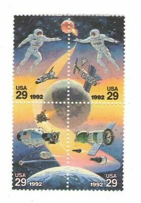 US Russian Space Accomplishments 25 Year Old Mint Vintage Stamp Block 1992