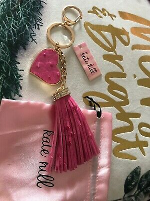 Kate Hill Pink Heart And Tassle Keyring Keychain Bag Charm New With Tag