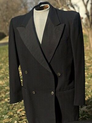 Vintage 50's Wool Black Double Breasted Tuxedo Dinner Jacket USA ~ 43 Holiday