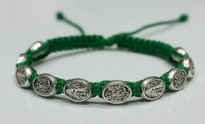 Saint Michael the Archangel Silver color medal on Green Cord Bracelet St Michael