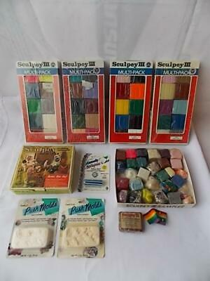 Large Lot Modeling Sculpting Clays Sculpey III Sealed Pks., Push Molds +