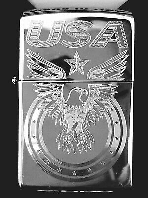 Zippo Windproof Engraved Eagle & USA, Patriotic Lighter, 25002, New In Box