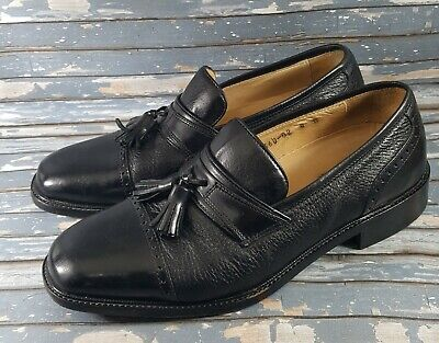 Vito Rufolo Mens Black Leather Slip On Tassel Dress Loafers Shoes Size 8 M Italy